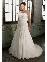 Chiffon Strapless Softly Curved Neckline Embroidered Bodice A-line Wedding Dress