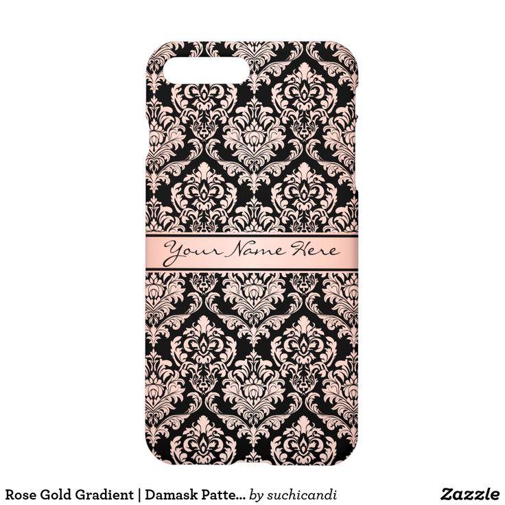 Rose Gold Gradient   Damask Pattern on Black iPhone 8 Plus/7 Plus Case