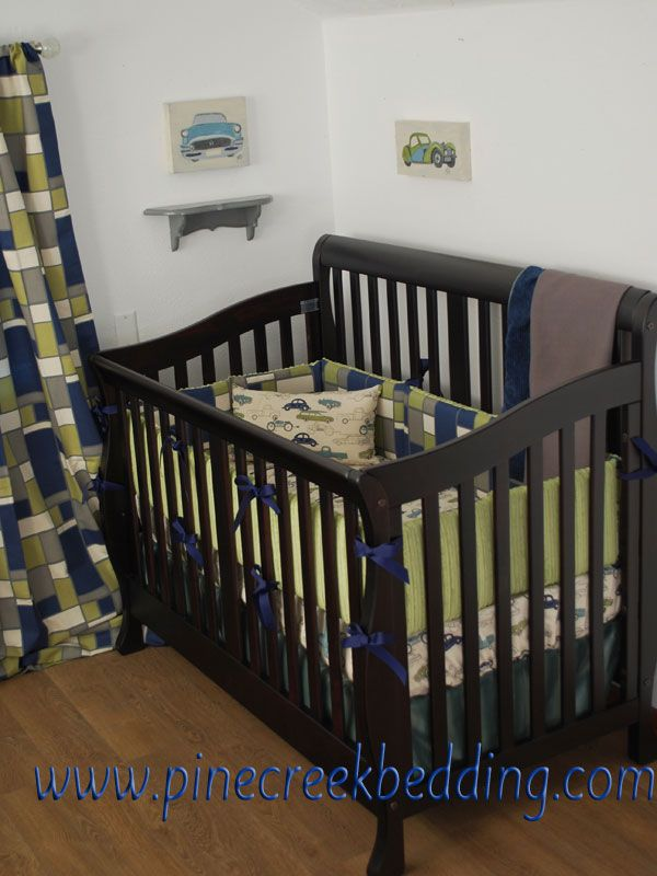 Navy and green car theme crib bedding with retro rides for Boy nursery fabric
