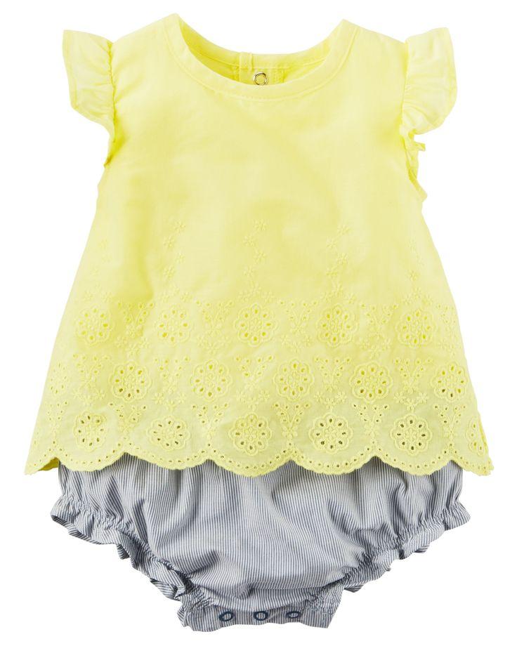 $24 Baby Girl 2-Piece Eyelet Top & Bubble Short Set | Carters.com summer 2017 wardrobe.