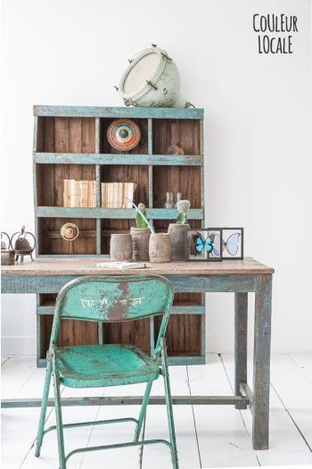 old cinema chair india - Industrial style- old table blue legs  www.couleurlocale.eu