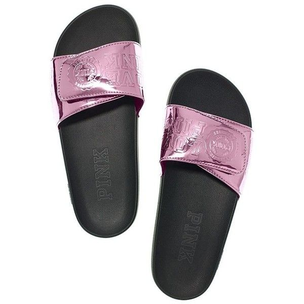 NEW Victoria's Secret PINK! Crossover Comfort Slides Metallic Berry... ($74) ❤ liked on Polyvore featuring shoes, metallic shoes, victoria's secret, berry shoes and victoria secret shoes