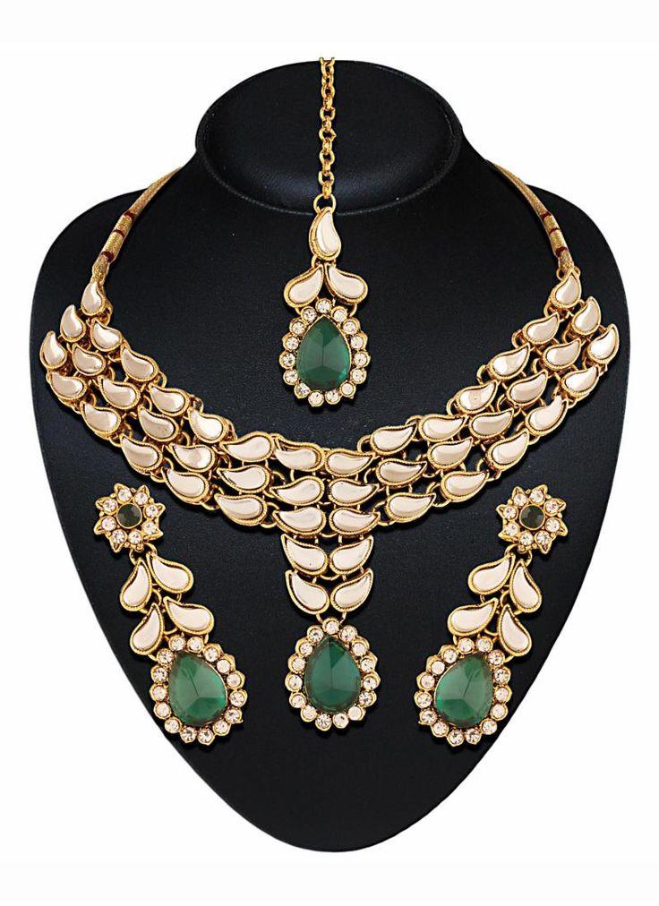 #Green #Beautiful #Modern #Design #Artificial #Wedding #Jewellery
