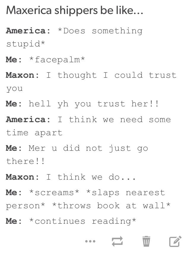 Summary of Maxon's and America's relationship. ~The Selection