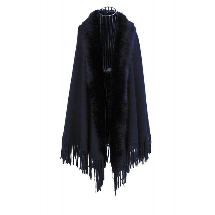 Women Black Knit Cape With Fringe Edges & Faux Fur One Size Fits Most NWT NEW #Simi #Cape #Everyday