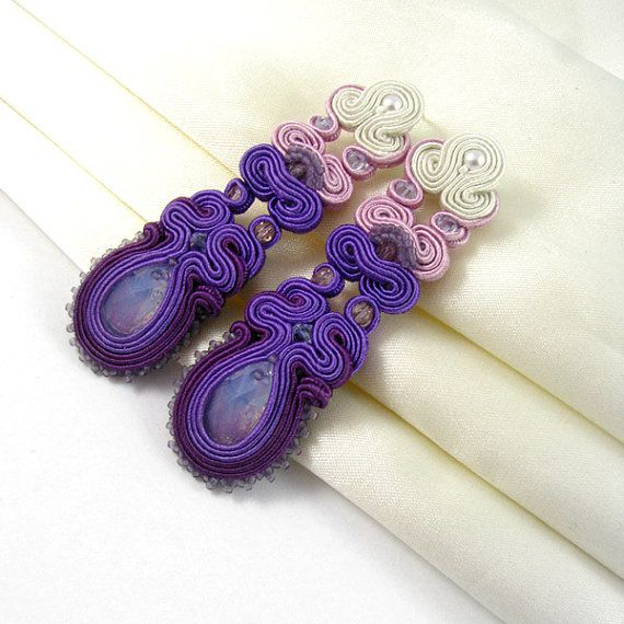 drop earrings bridal design jewelry soutache by byPiLLowDesign, $124.00