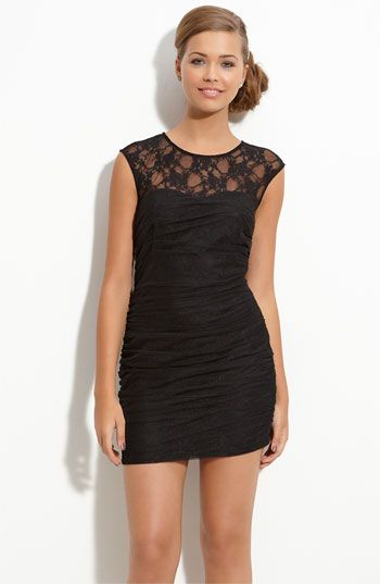 cute black lace dress: Black Lace, Illusion Dress, Vegas Dresses, Lace Illusion, Parties Dresses, Bridesmaid Dresses, Little Black Dresses, Illusions Dresses, Lace Dresses