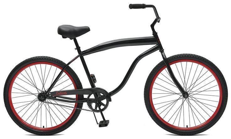 Men's 26 Inch Beach Cruiser Red Black Single Speed Bicycle Free Shipping #CriticalCycles