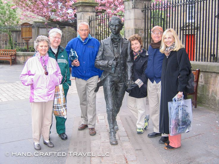 In April 2007 this Hand Crafted Tour group joined 18th century Scottish poet Robert Fergusson for a stroll along Edinburgh's Royal Mile. The street runs right through the heart of the old town, stretching from Edinburgh Castle at the top to the Palace of Holyrood at the bottom. Hand Crafted Travel can help you plan what to see – and understand what you're seeing – whether you are on a guided tour, or on you own self-guided trip. #tbt
