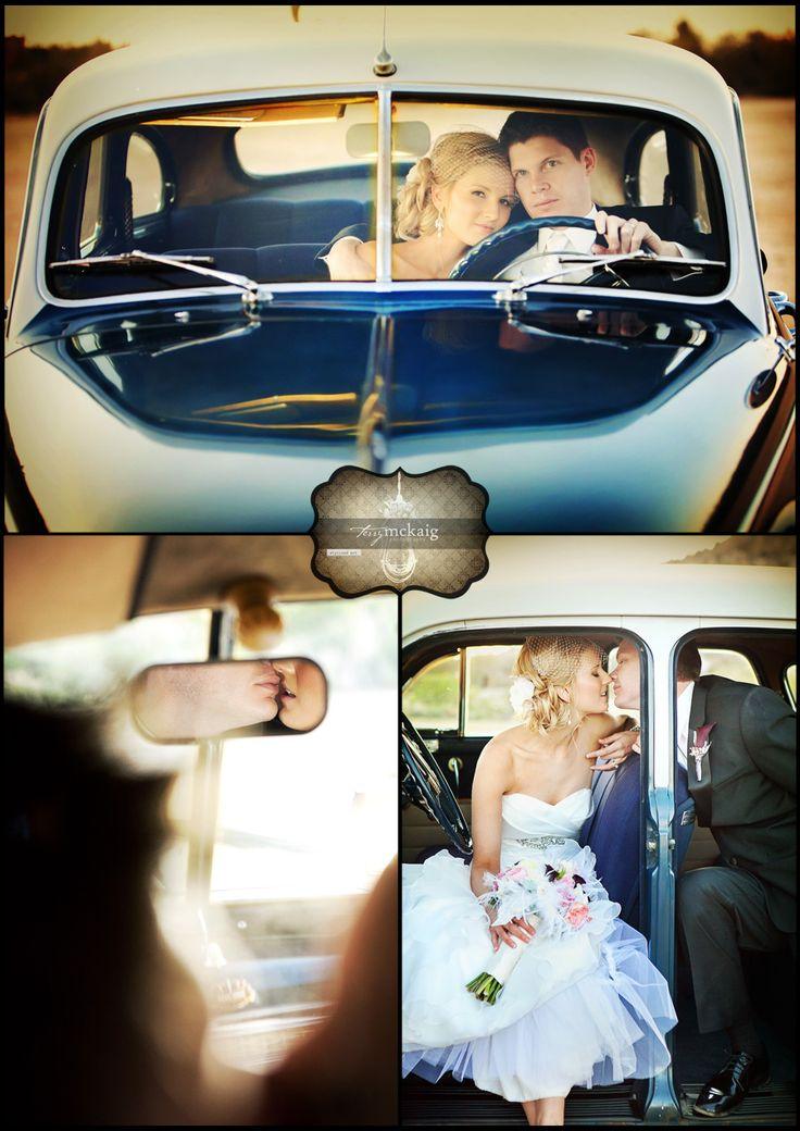 Vintage Car Bride and Groom