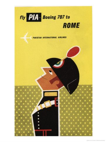 Pakistan International Airlines, Fly PIA Boeing 707 to Rome Premium Poster