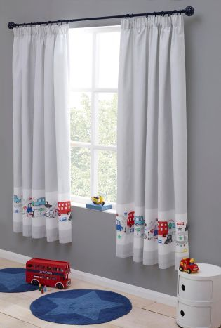 Buy Beep Beep Cars Print Blackout Pencil Pleat Curtains from the Next UK online shop