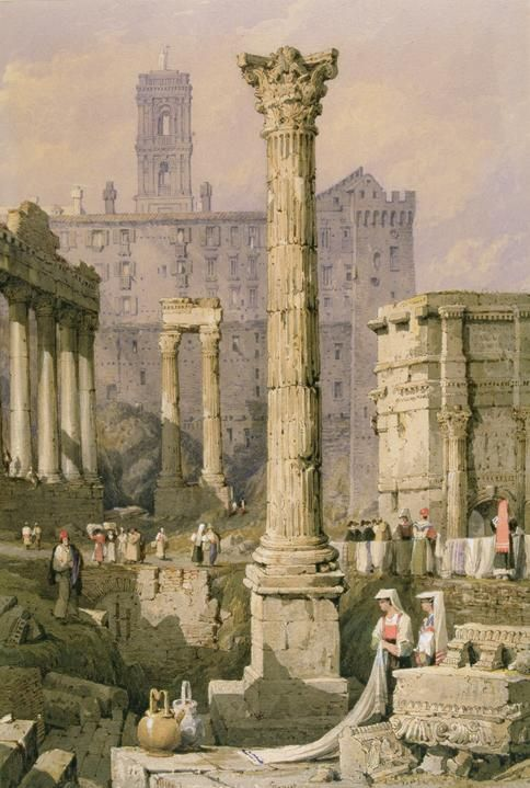"""rationalinquirer:  """"View of the Roman Forum,"""" by Samuel Prout"""
