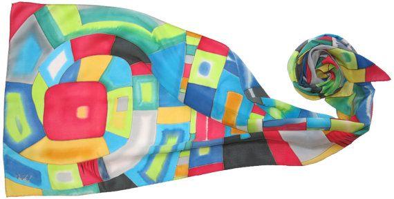 silk scarf Silver Spiral. Hundertwasser scarf Hand by SilkMood