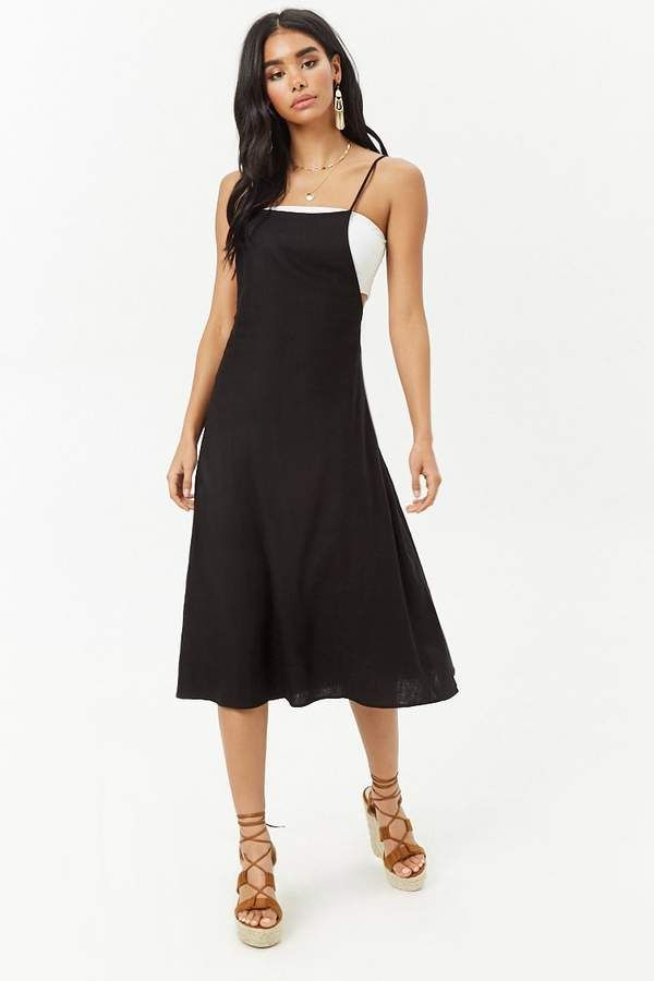 Forever 21 Pinafore Midi Dress Cover Up In The Simple Linen Blend