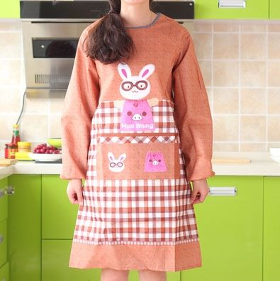 021042  Cute cartoon glasses rabbit one-piece apron long-sleeved waterproof adult overall kitchen apron