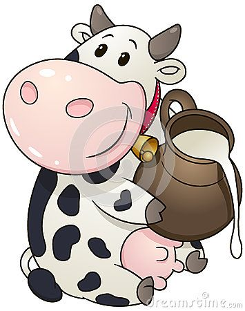 Cartoon chubby cow. Vector clipart illustration with simple gradients.
