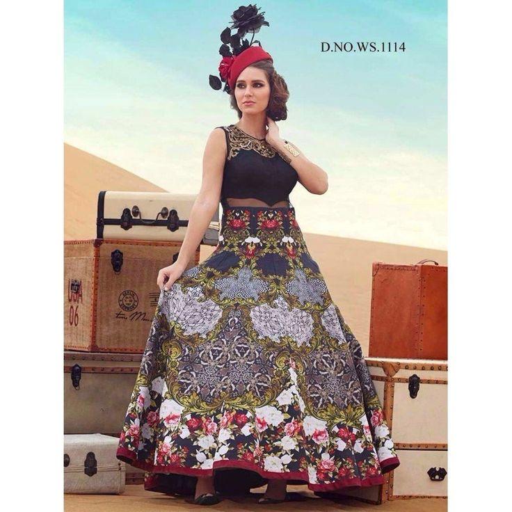 Designer Banglori Silk, Digital Print Black Color Khatli Work Anarkali Style Gown at just Rs.2432/- on www.vendorvilla.com. Cash on Delivery, Easy Returns, Lowest Price.