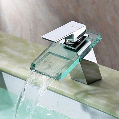 cascata rubinetto lavabo bagno con vetro beccuccio (finitura cromata)