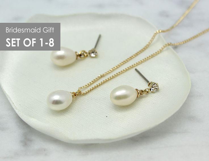 Freshwater Pearl Gold Jewelry Set, Bridesmaid gift