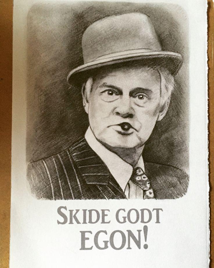 Portræt tegning af Egon Olsen