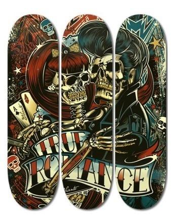 Rockabilly, skull, skateboard, color