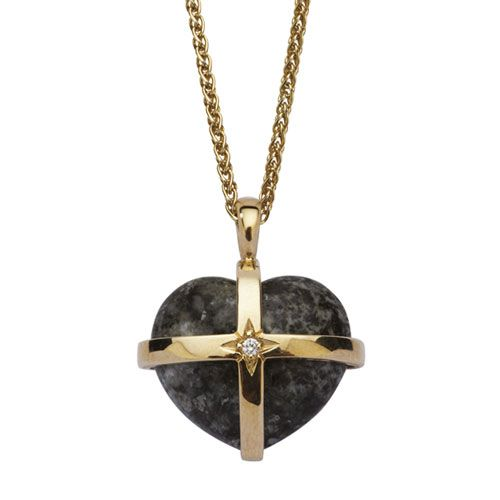 This 18ct Gold, Bluestone and Diamond Pendant is exquisitely crafted by hand by master jewellers. The heart is made of genuine Bluestone from the Preseli Hills in Pembrokeshire, Wales. The 18 carat gold cross is set with a diamond. Hung on a delicate 18 inch gold chain, the pendant is a striking accessory that is guaranteed to make the wearer feel very special. View online: http://www.english-heritageshop.org.uk/jewellery/18ct-gold-bluestone-diamond-heart-pendant