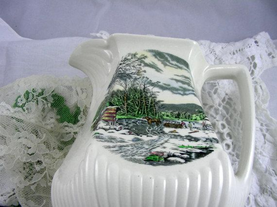 adams winter scenes | Adams & Sons English Ironstone Pitcher / Old Winter Scenes