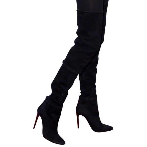 Pre-owned Balmain X H&m Thigh High Suede Size 8 Eur 39 Stiletto Heels... ($1,010) ❤ liked on Polyvore featuring shoes, boots, black, black suede over the knee boots, black stretch boots, suede boots, black boots and black suede boots