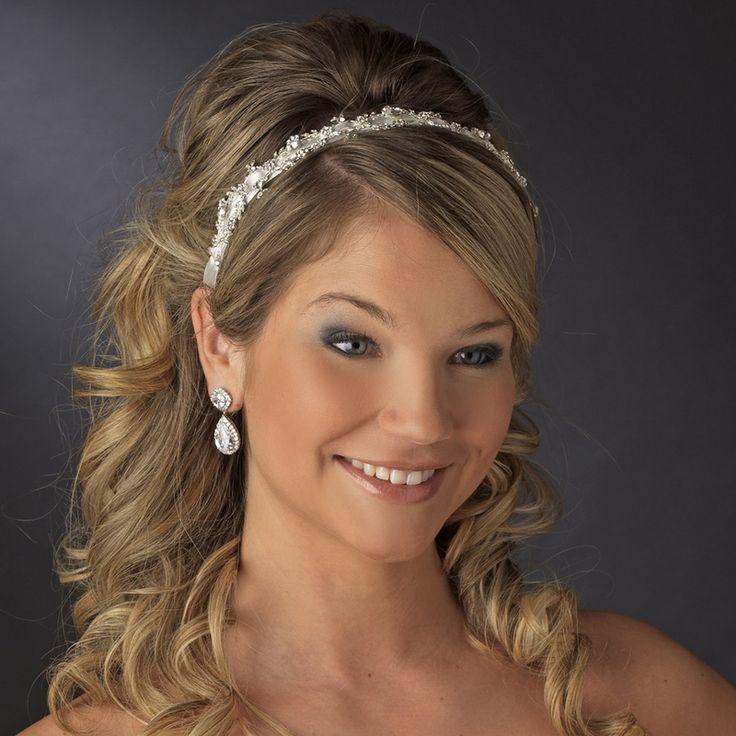 Glistening  Antique Silver Bridal Ribbon Headband - Affordable Elegance Bridal -