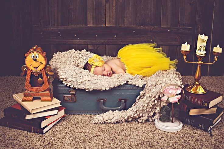 Beauty and the Beast newborn photo with baby Savannah
