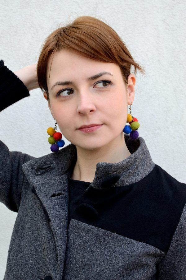 This felt ball earrings will dangle playfully with every your move. If you are cheerful woman, you will love them!