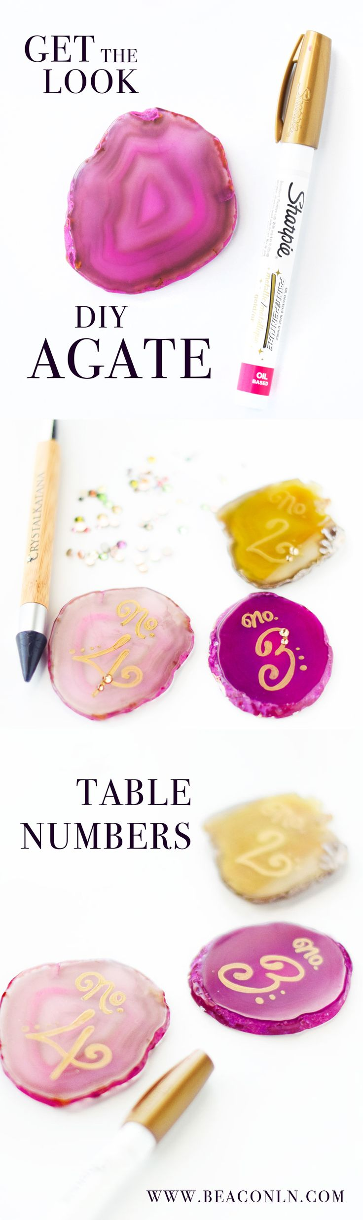Looking for an easy DIY to add bohemian flair to your wedding tablescape? These DIY agate table numbers are earthy and rustic, while still providing a perfect color pop to your display.