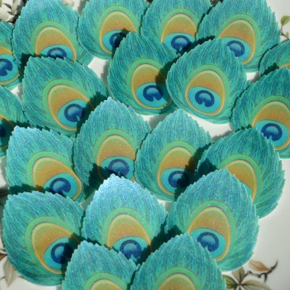 Edible Peacock Feather Eye Art Deco Blue by WicksteadsEatMe
