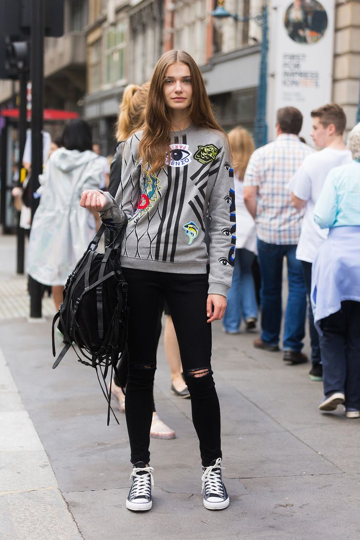 London Fashion Week: Model Adrianna Zajdler played up the sporty vibes of her Kenzo jumper.