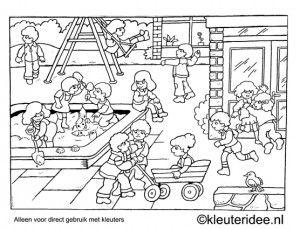 Kleurplaat kleuters spelen op het schoolplein, kleuteridee , Preschool playing outdoor coloring.