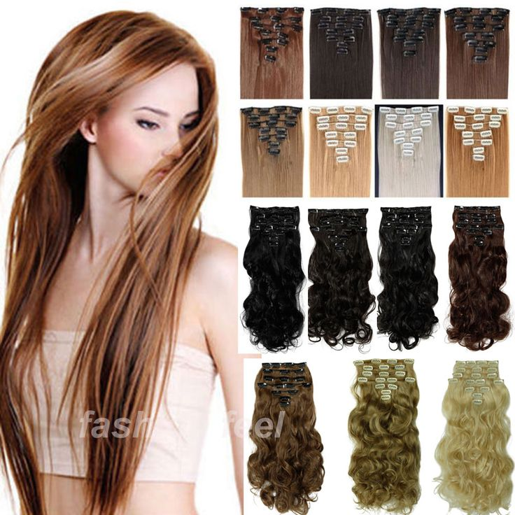 "Hair Extension MAGA THICK 17/24"" 8PCS Full Head Clip in Hair Extensions Straight 100% real Deluxe Hair Piece 2-5 SHIPPING DAY"