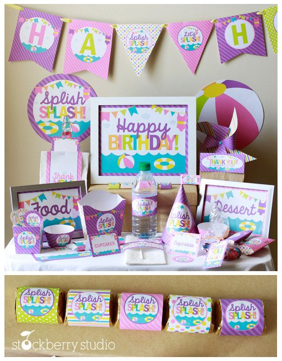 Pool Party Birthday Decorations  Beach Party by stockberrystudio