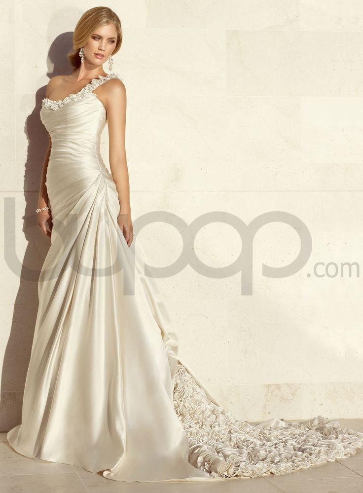 Dolce Satin A Line One Shoulder Wedding Dress Love The Sweetheart Neckline But I D Change Roses To Beading Or Some Kind Of Embellishment