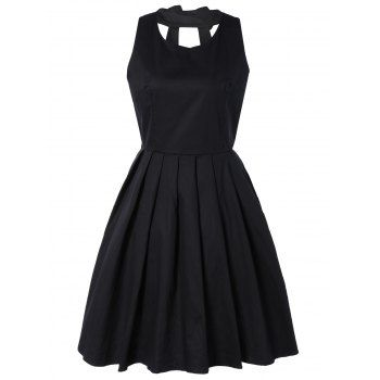 SHARE & Get it FREE   Pure Color Back Bowknot Hollow Out Pleated DressFor Fashion Lovers only:80,000+ Items·FREE SHIPPING Join Dresslily: Get YOUR $50 NOW!
