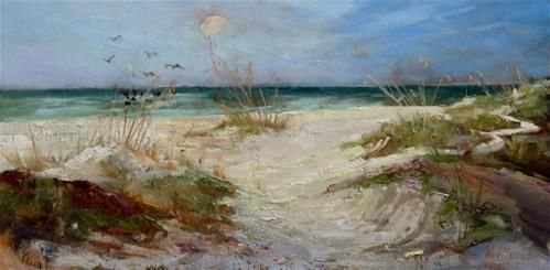 """Daily Paintworks - """"Sand dunes at Coquina Beach"""" - Original Fine Art for Sale - © Christa Friedl"""