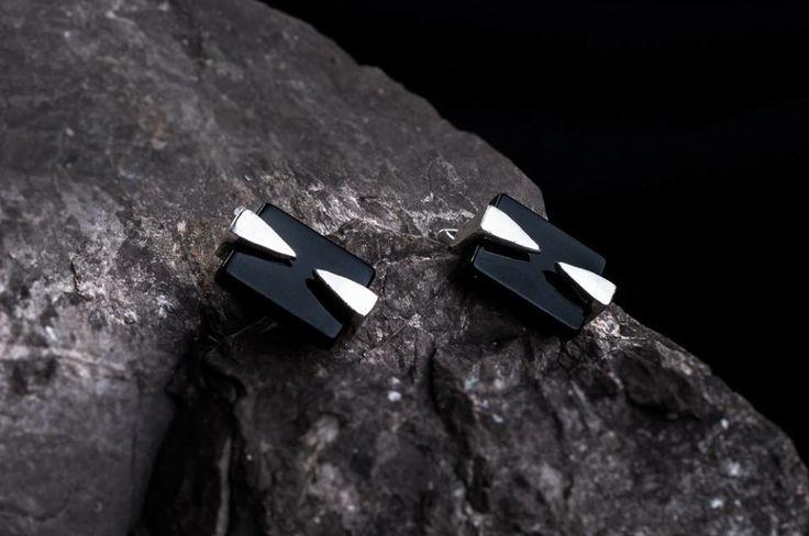 handmade cufflins design. Onyx with silver  www.facebook.com/lunojewellery