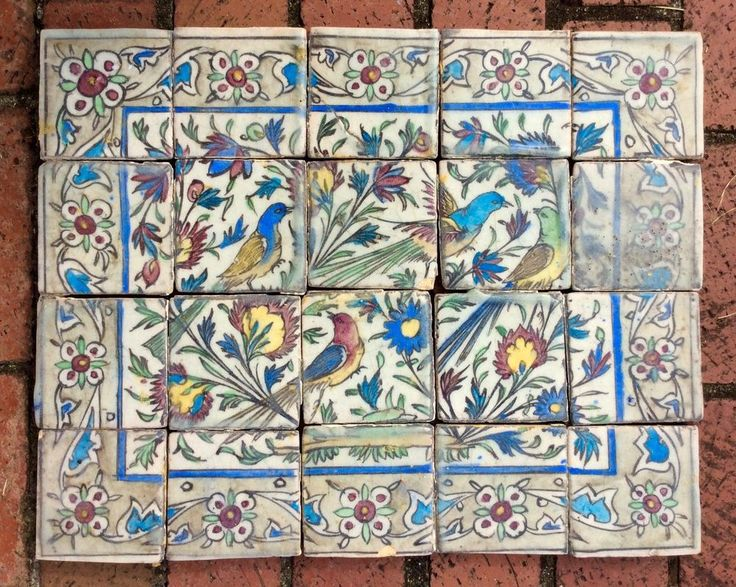 """Lovely 19th century Persian tile mural with a scene of birds and flowering vines rendered in the loose, airy hand that makes Qajar dynasty pottery so refreshing to the eye. 20 tiles, each aprox. 4"""" square, to make a mural about 20"""" X 16"""", (a bit larger depending on the spacing of the tiles.).   eBay!"""