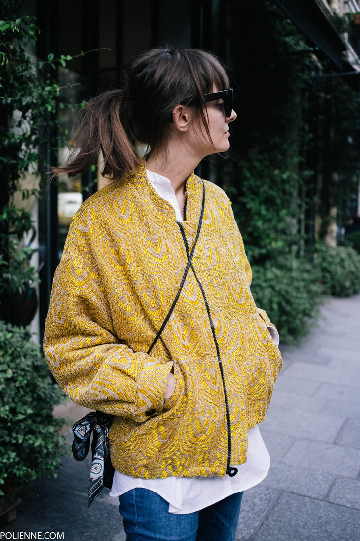 POLIENNE | wearing an ESSENTIEL jacket, FILIPPA K shirt, AG JEANS denim, PINKO scarf, CELINE sunglasses, & OTHER STORIES sandals in Paris
