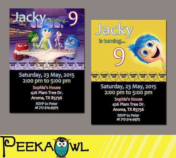 Best Pixar Inside Out Birthday Party Images On Pinterest - Birthday invitations inside out