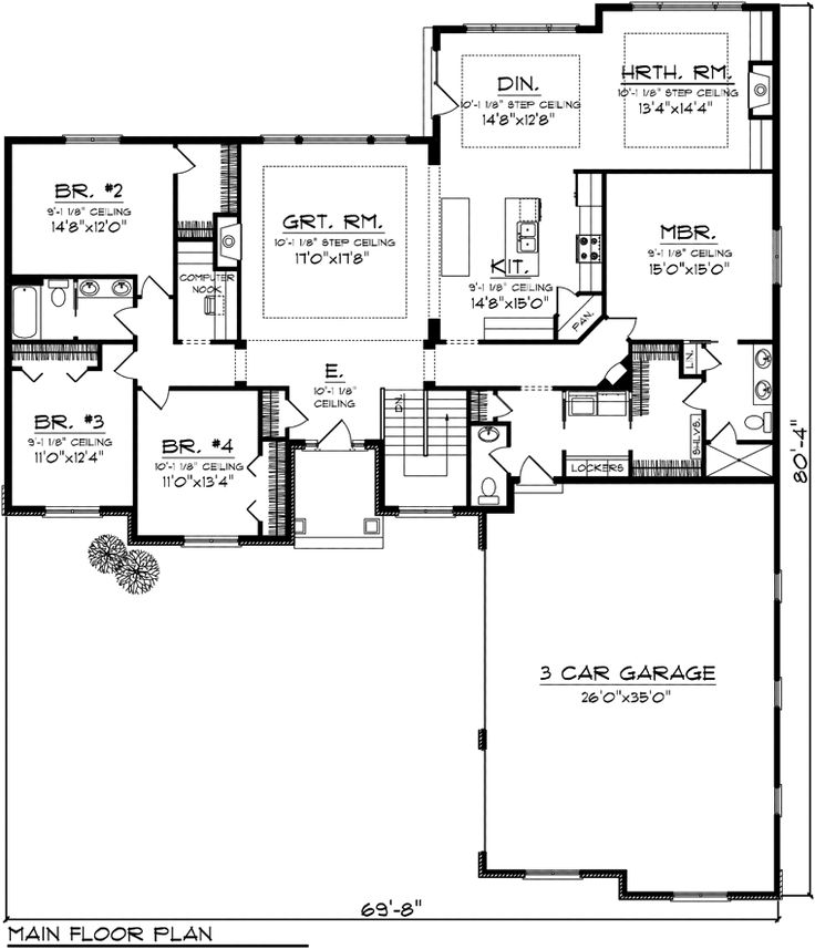 First Floor Plan of Ranch   House Plan 97368