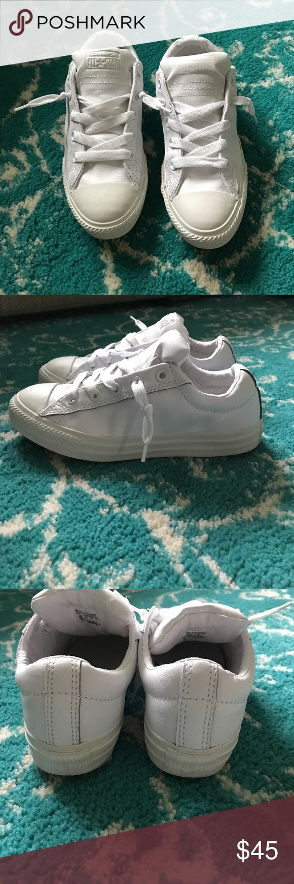 All White leather converse sneakers Size 7 women's (these are a 4 youth, but run big and fit size 7 women) I typically wear a women's 6 or 6.5 and these are just a little too big to wear comfortably for me. Worn 1x only,  not one spec of dirt on them. Converse Shoes Sneakers