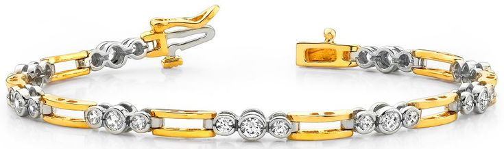 Diamantarmband mit 2.00 Karat Diamanten aus 585er Weiß und Gelbgold - http://www.diamantring.be/Diamantarmband-mit-200-Karat-Diamanten-aus-585er-Weiss-und-Gelbgold-1