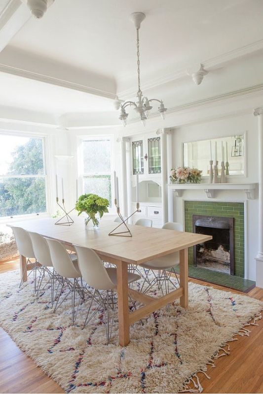 Check out this light and airy dining room makeover on @ohhappyday.com, featuring the NORDEN table!