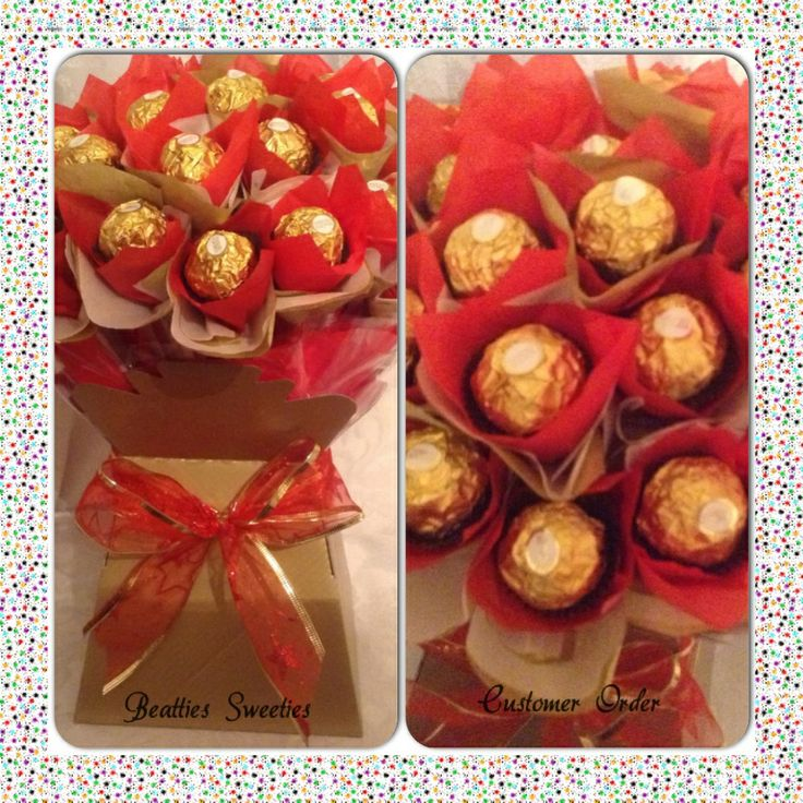 Gold/red ferrero bouquet